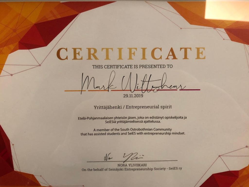 SeiES certificate for Yrittäjähenki / Entrepreneurial Spirit, presented to Mark Wiltshear